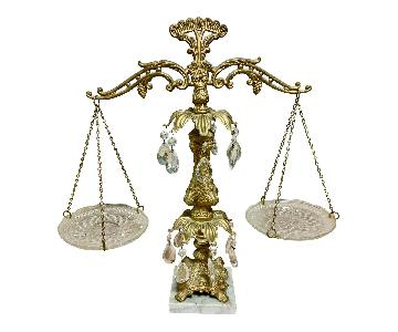 Vintage Brass, Crystal & Marble Scales of Justice