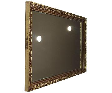 Rococo Syroco Rectangle Wall Mirror w/ Gold Scroll