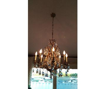 Antique Laurel Leaf Brass Finish Chandelier