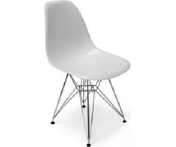 AllModern Dining Chair in Matte White w/ Chrome Legs