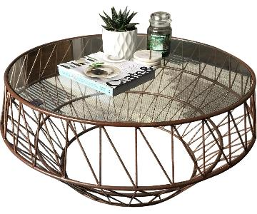 Copper Glass Top Coffee Table