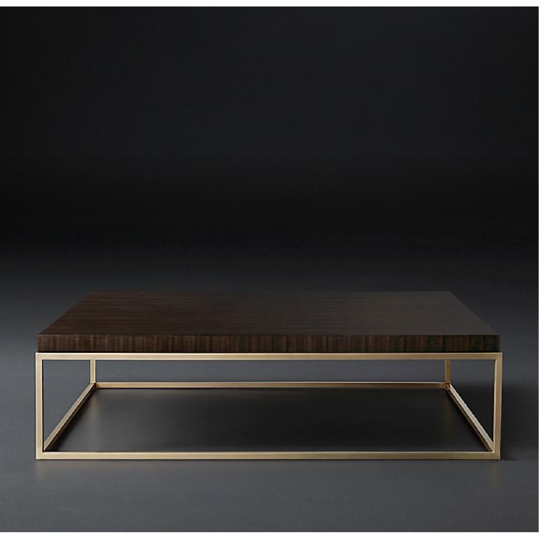 Restoration Hardware Wood & Glass Side Table