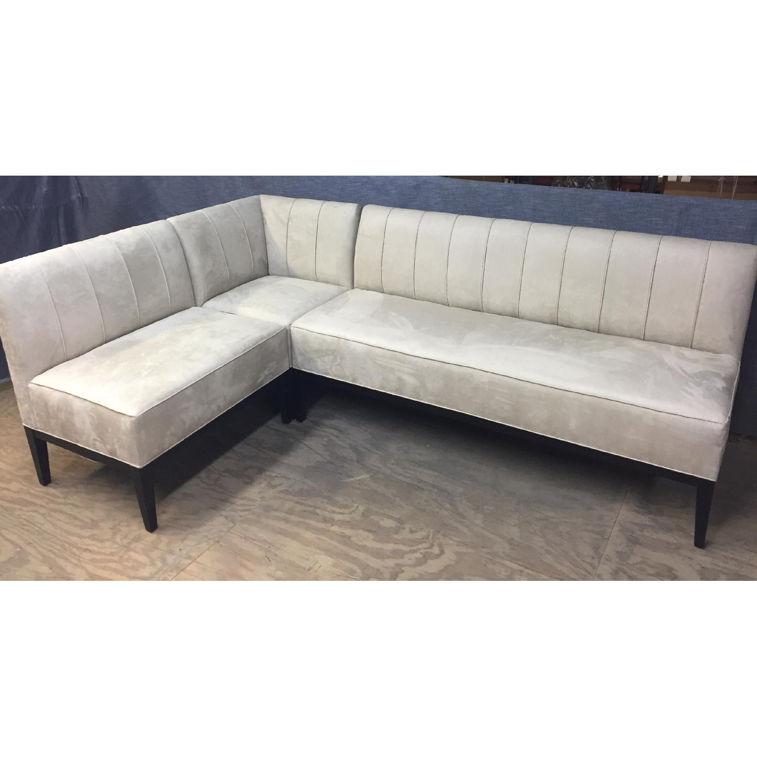 Suede Leather 3-Piece Sectional Sofa
