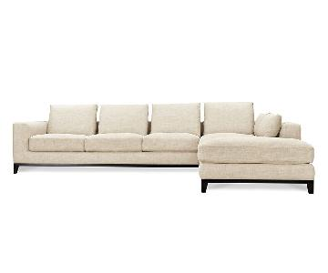 Volo Design Kellan Right-Facing Oatmeal Linen Sectional Sofa