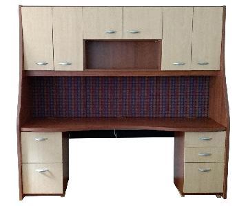 Desk Unit w/ Built-in Lighting, Storage & Bulletin Board