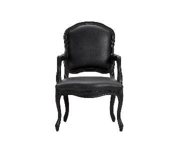 CB2 Black Leather Chairs