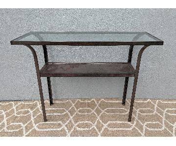 Vintage Industrial Iron & Glass Console Table