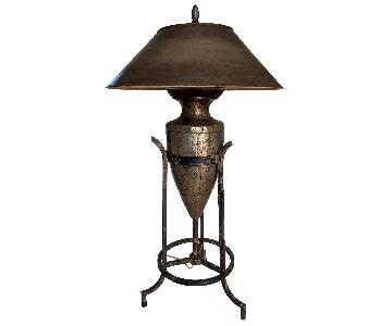 Large Brutalist Mixed Metal Lamp
