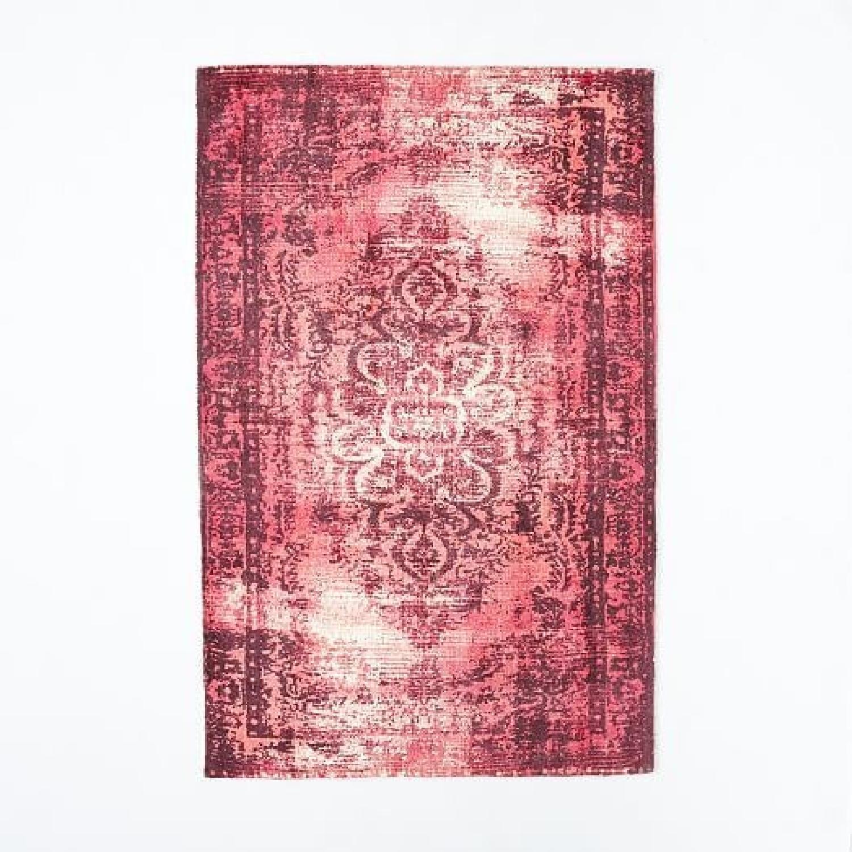 West Elm Dark Pink Distressed Wool Rug