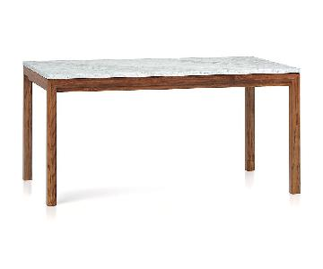 Crate & Barrel Marble Top/Elm Base Parsons Table