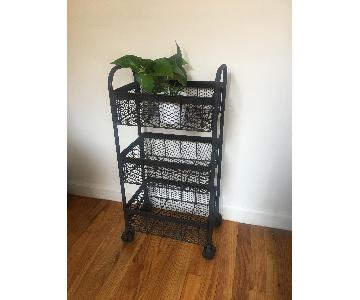 Industrial Rusted Metal Mesh 3-Tier Cart