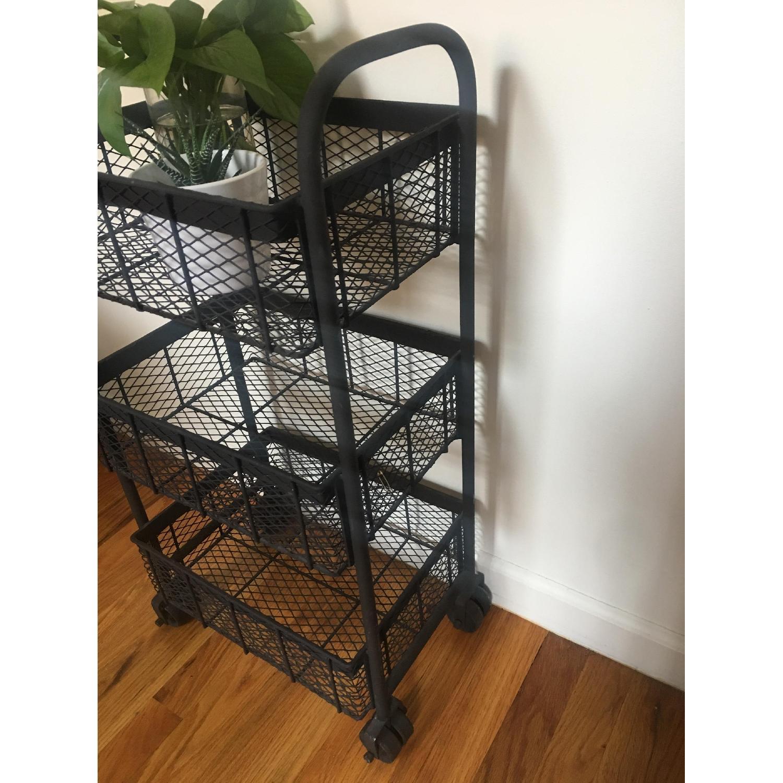 Industrial Rusted Metal Mesh 3-Tier Cart