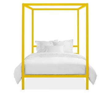 Room & Board 4 Poster Yellow Queen Size Bed