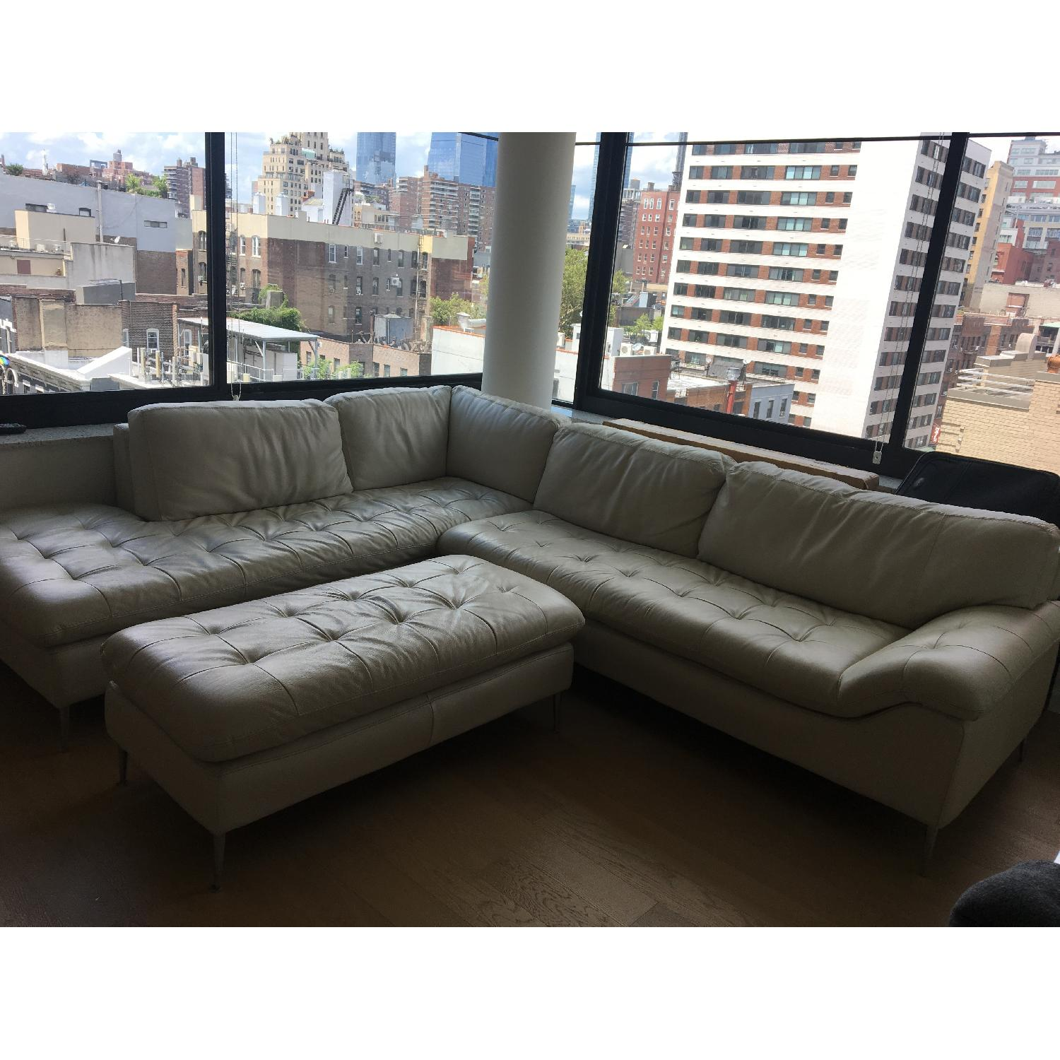Cream Leather Sectional Sofa Ottoman