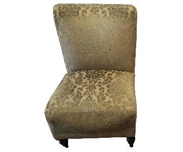 Pier 1 Green Upholstered Slipper Chairs