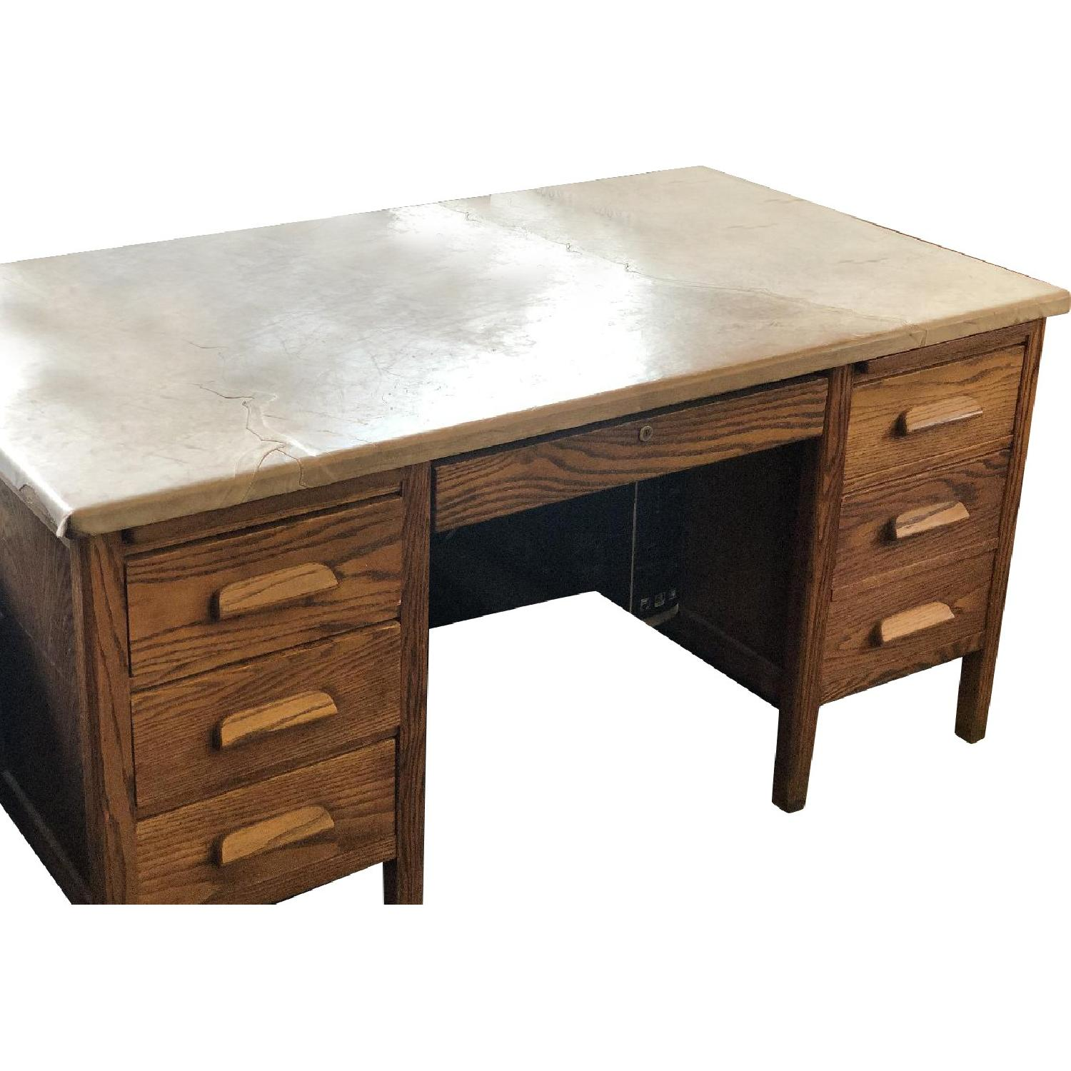 Antique Mission Style Desk w/ Distressed Calf Skin Covering