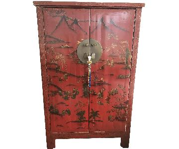 Custom Made Asian Antique Carved Cabinet/Armoire