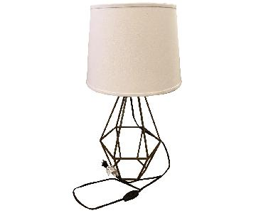 World Market Brass Diamond Table Lamp w/ White Shade