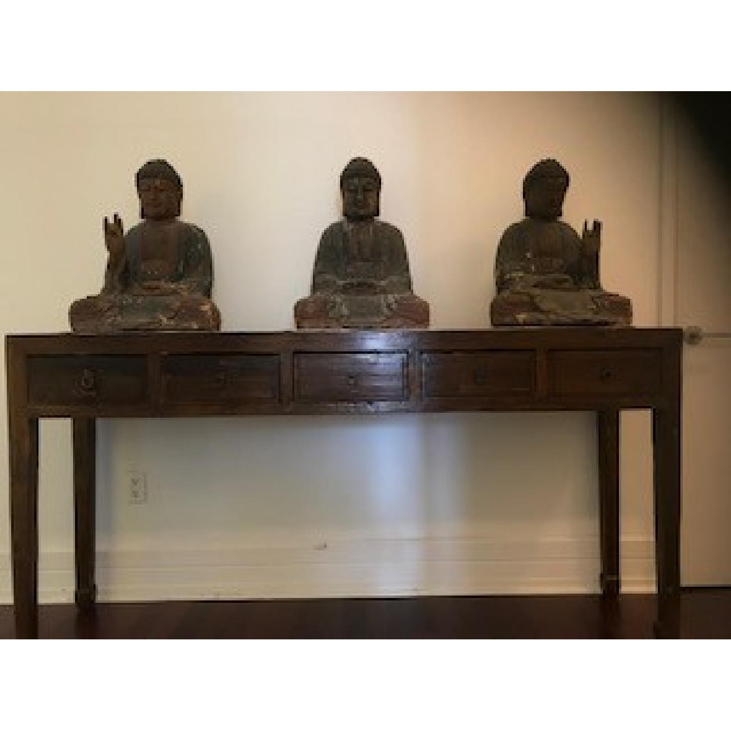 Chinese Long Display Console w/ Buddha Statues