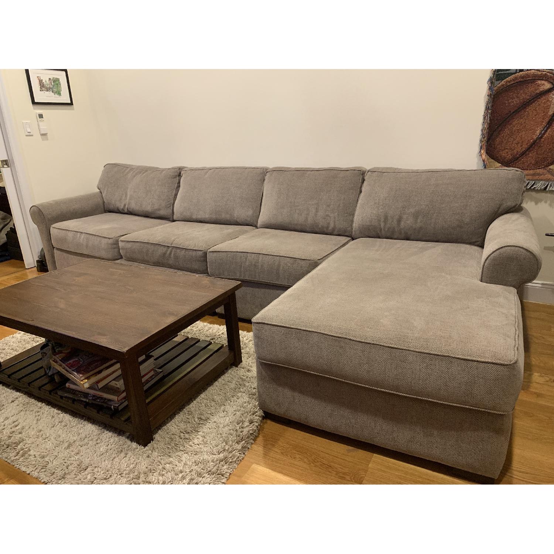 Beige Fabric 3-Piece Sectional Sofa