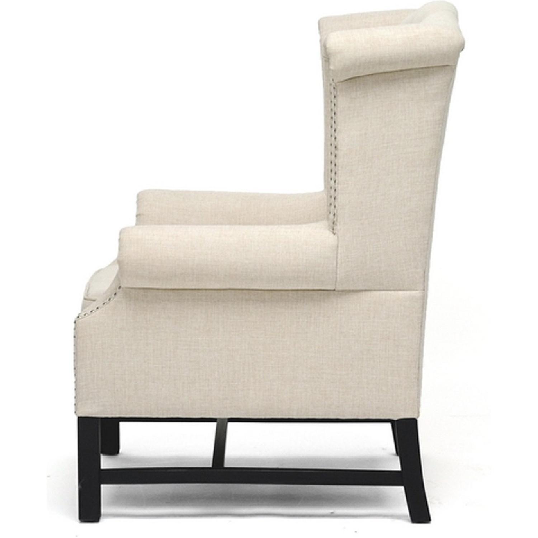 Baxton Studio Sussex Tufted Club Chair in Beige Linen