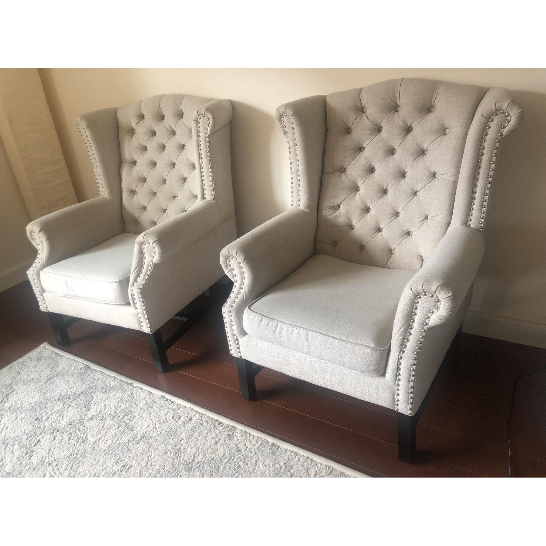 Baxton Studio Sussex Tufted Club Chair in Beige Linen-2