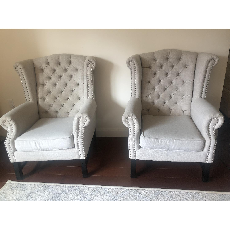 Baxton Studio Sussex Tufted Club Chair in Beige Linen-3