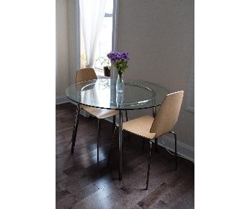Ikea Salmi Round Glass Table w/ 4 Chairs