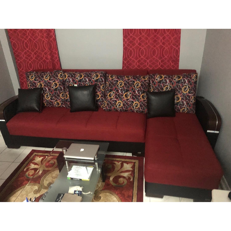 L-Shaped Sectional Sofa & Armchair - AptDeco