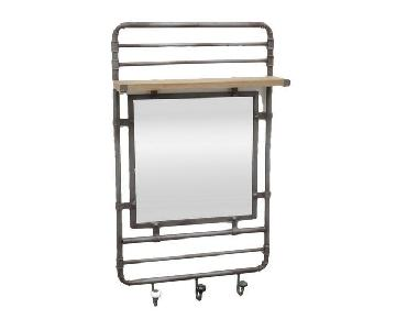 Three Hands Metal Wall Mirror w/ 3 Hooks