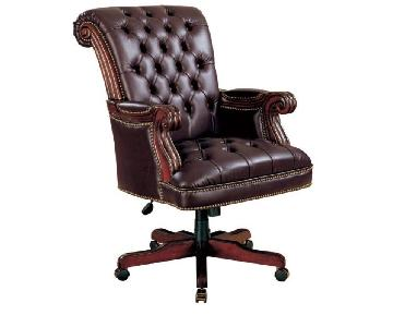 Executive Style Office Chair in Dark Brown Leatherette