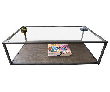 West Elm Glass/Wood Coffee Table