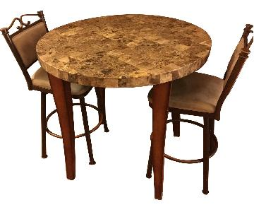 High Circular Marble Table w/ 2 Chairs