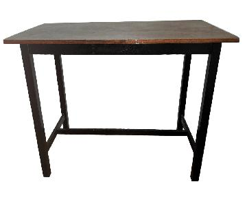 Wooden High Table w/ 2 Saddle Seat Stools + 1 Bench