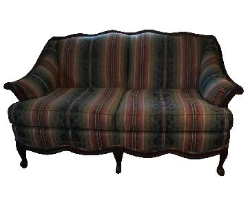 Vintage Stripped Wood Trimmed Loveseat