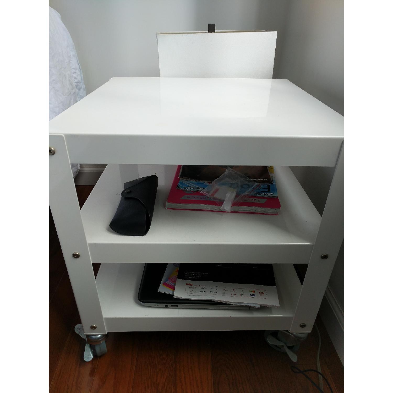 CB2 White Metal Bedside Tables on Castors-0