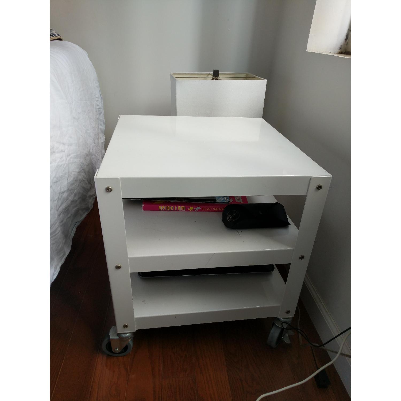 CB2 White Metal Bedside Tables on Castors-1