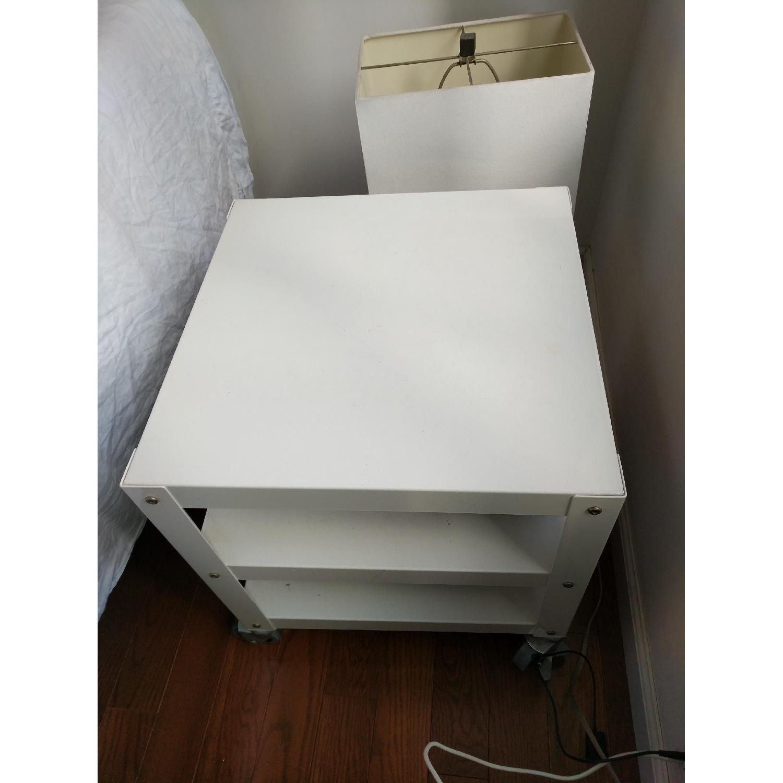 CB2 White Metal Bedside Tables on Castors-2