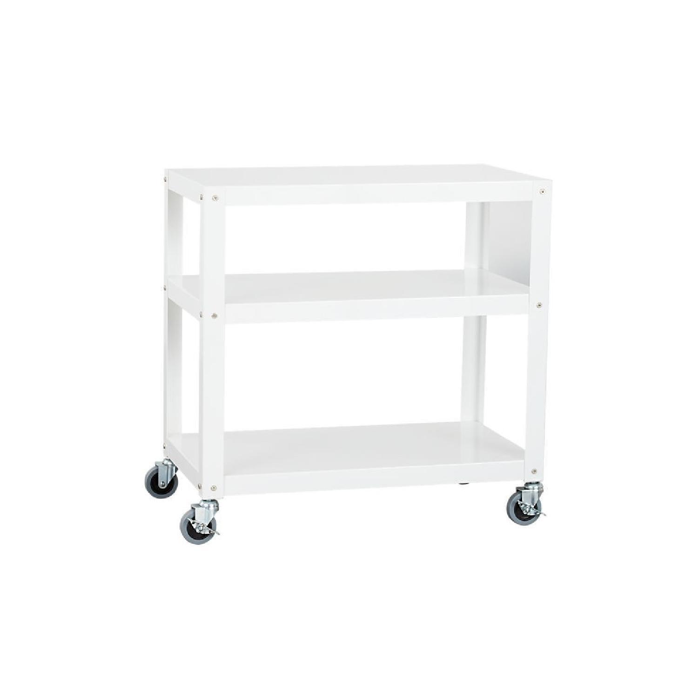 CB2 White Metal Bedside Tables on Castors