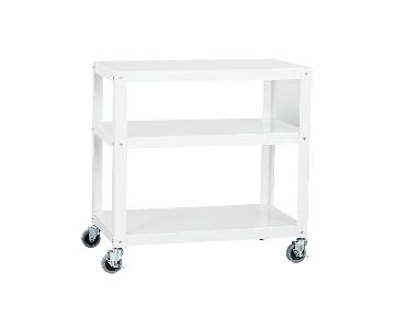 CB2 White Metal Bedside Tables on Castors