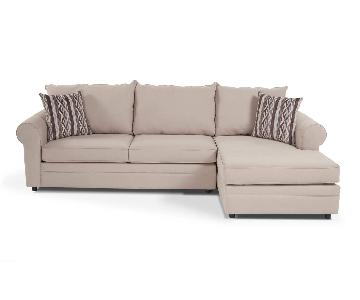 Bob's Beige Queen Sleeper Sectional Sofa