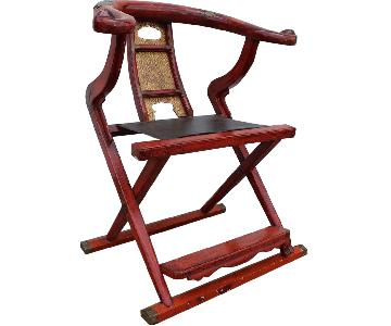 Antique Circa 19th C Red Lacquer Chinese Folding Chair