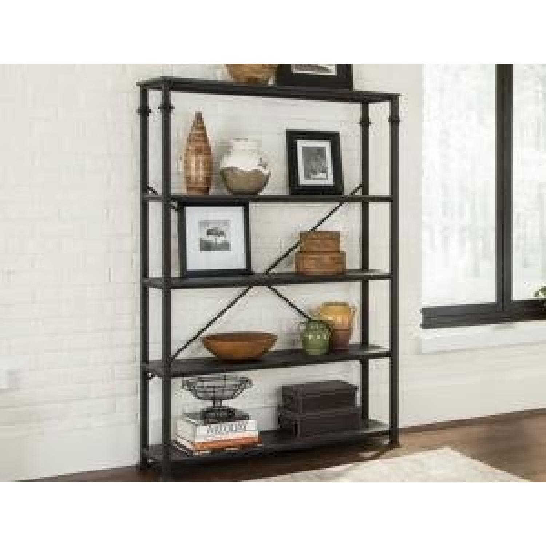 Dark Grey Double Bookcase w/ Metal Frame-0