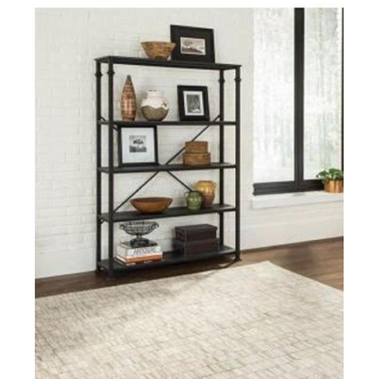 Dark Grey Double Bookcase w/ Metal Frame-1