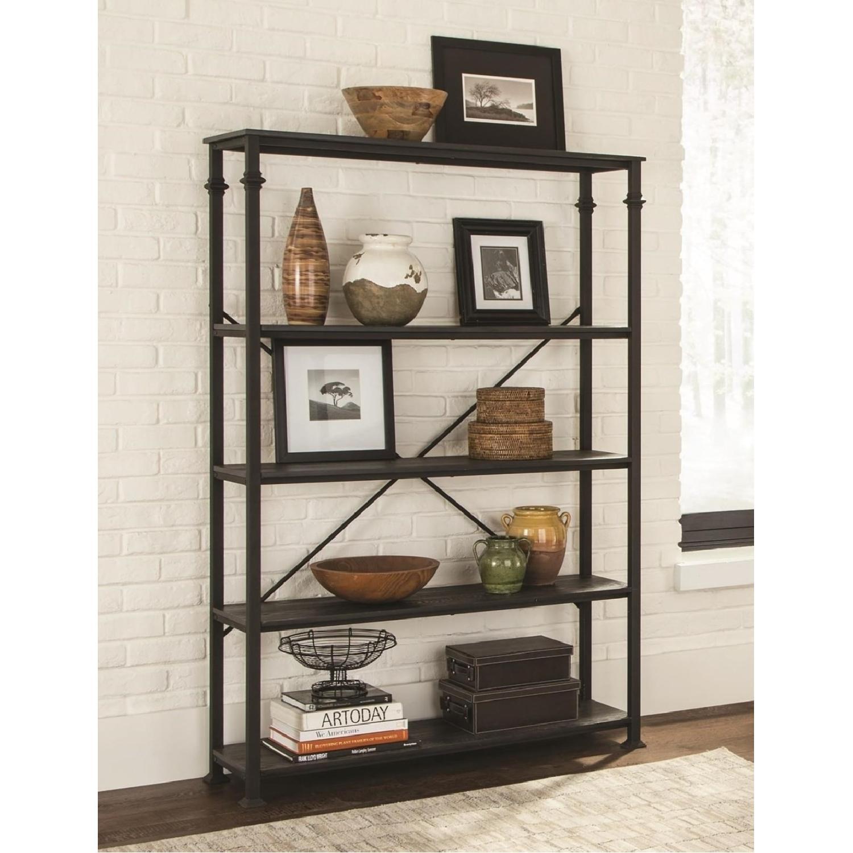 Dark Grey Double Bookcase w/ Metal Frame-2