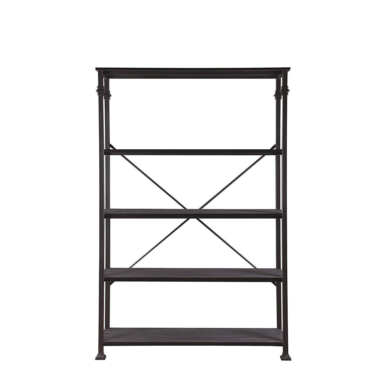 Dark Grey Double Bookcase w/ Metal Frame