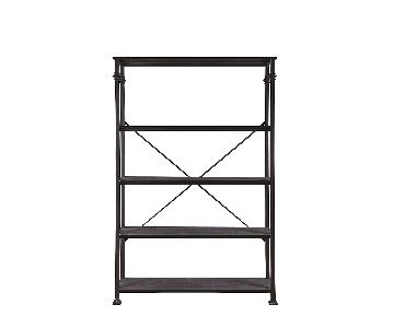 Dark Grey Double Bookcase w/ Metal Frame