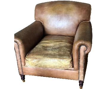 George Smith Signature Aged Leather Chair w/ Full Scroll Arm
