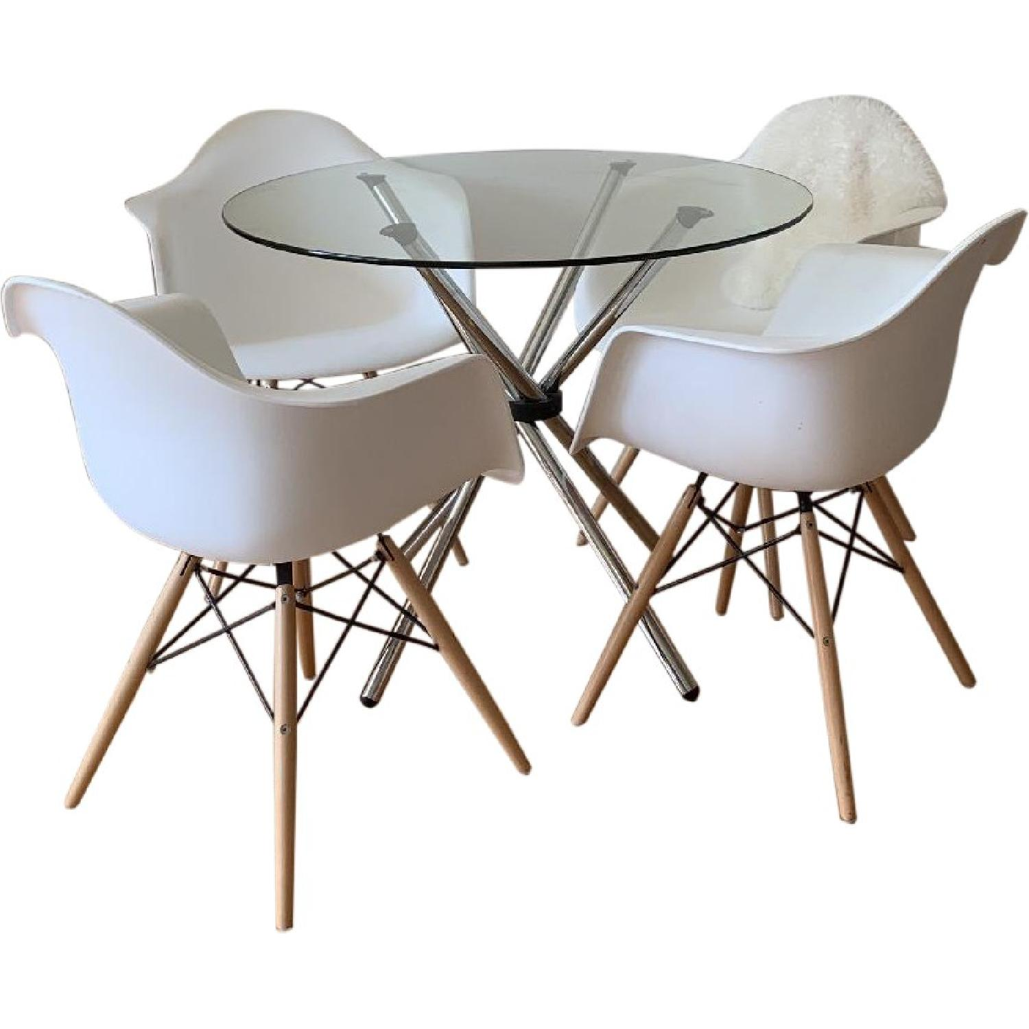 Contemporary Mid-Century Glass Top Dining Table w/ 4 Chairs