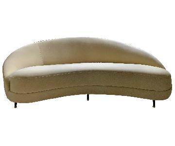 West Elm Ivory Velvet Curved Tufted Sofa